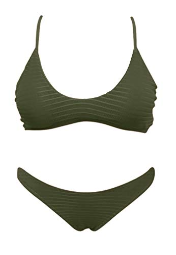 SHEKINI Women's Sexy Brazilian Triangle Bottom Bikini Swimwear Swimsuit Bathing Suit (Olive Green - B, Small/(US 4-6))