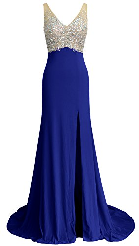 Jersey Mermaid Long Elegant Blue Dress V Evening MACloth Royal Neck Gown Formal Prom Party aw0qx6