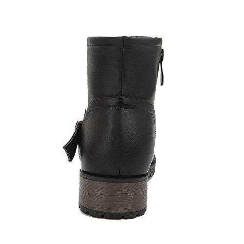 AllhqFashion Mujeres Puntera Redonda Mini Tacón Material Suave Caña Baja Sólido Botas Negro