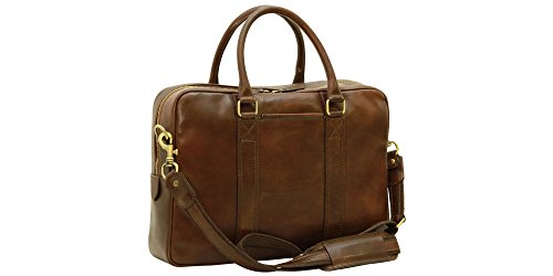 Anglers Briefcase Bag (Handmade Italian Soft Calfskin Leather Briefcase (Dark brown))