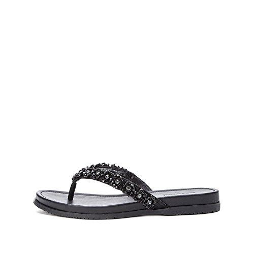 Tacchi tacco moda basso basso con alti Sandali tacco da Nero Pantofole alla a piatti donna DHG estivi Sandali 35 casual Sandali TO7Y1OB