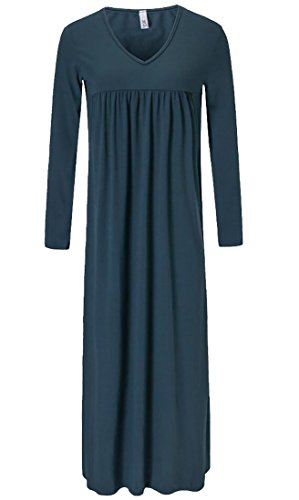 Long V Swing Waist Dress Green Party Cruiize Maxi High Women's Sleeve Neck Pleated 1fnwHAq5T