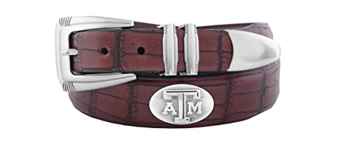 NCAA Texas A&M Aggies Men's Crocodile Leather Concho Tapered Tip Belt, Brown, 42