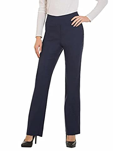 Womens Bootcut Stretch Dress Pants - Comfy Pull On Style, Red Hanger, Navy-S (Petite Office Pants)
