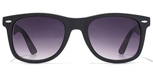 American Freshman Lunettes de soleil plastiques rétro en noir mat AFS003 Gradient Grey