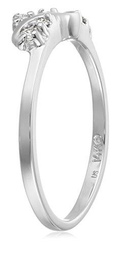 14k White Gold Round Diamond Solitaire Engagement Ring Enhancer (1/8 carat, H I Color, I1 I2 Clarity)