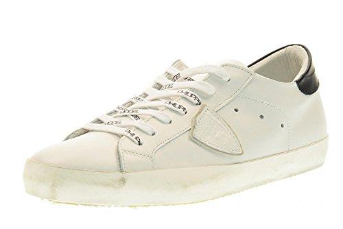 PHILIPPE MODEL hombre bajas zapatillas de deporte CLLU VE49 CLÁSICA L T VEAU Blanco / negro