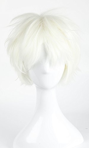 Women Mens Short Fluffy Straight Hair Wigs Anime Cosplay Party Dress Costume Wig (Blonde)