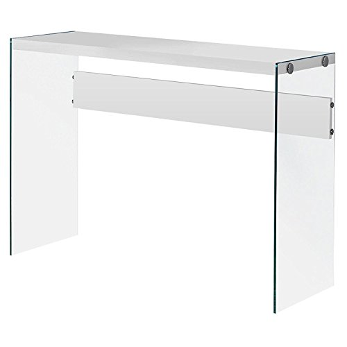 Monarch Specialties I 3288, Console Sofa Table, Tempered Glass, Glossy White, 44″ L
