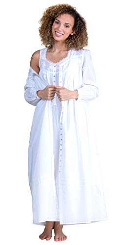 Peignoir Robe Nightgown - Eileen West Ballet Cotton Lawn Peignoir Set - White Duchess (White, X-Large)