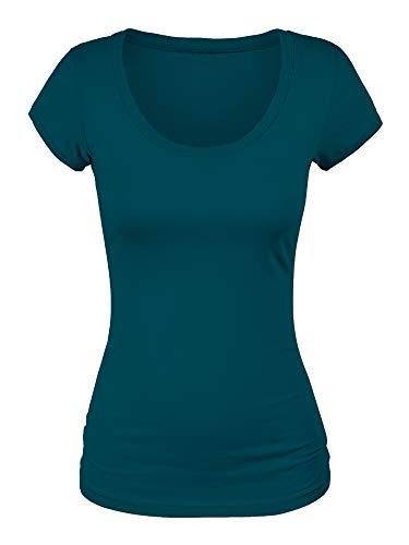 (Emmalise Scoop Neck Short Sleeve Tee for Women Basic Tshirt -Plus, Deep Jungle,)