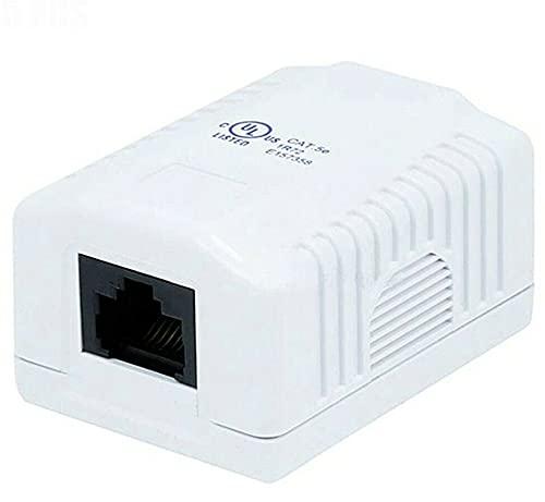 Single Port Cat5e RJ45 Network LAN Ethernet Wall Surface Mount Compact Box White