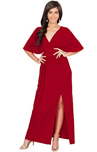 KOH KOH Womens Long Sexy Kimono Short Sleeve Slit Split V-Neck Party Cocktail Evening Bridesmaid Wedding Guest Sun Gown Gowns Maxi Dress Dresses for Women, Red L 12-14