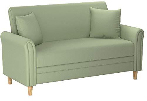 Divano Roma Furniture Modern 2 Tone Small Space Linen Fabric Loveseat (Green)