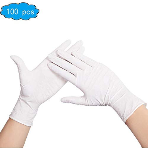 Disposable Nitrile Gloves (X-Large, 100-Count) Latex Free | Ultra-Strong, Clear | Fluid, Blood, Exam, Healthcare, Food Handling Use | No Powder,Household Cleaning Gloves (Color : White, Size : M) from ACMM