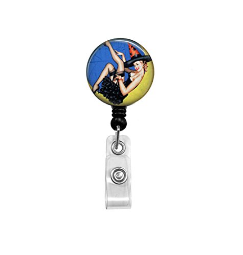 Halloween Witch - Retractable Badge Reel - Pinup Art - Badge Holder - Office ID, Key Card Holder, Girl in the Moon, Witchy, Fun