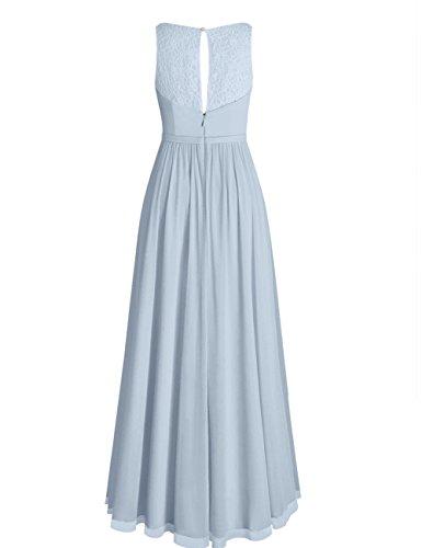 Robes De Mousseline De Cdress Longue Demoiselle D'honneur Robes De Soirée En Dentelle Pure Encolure En V Maxi Bal Corail Robe Formelle