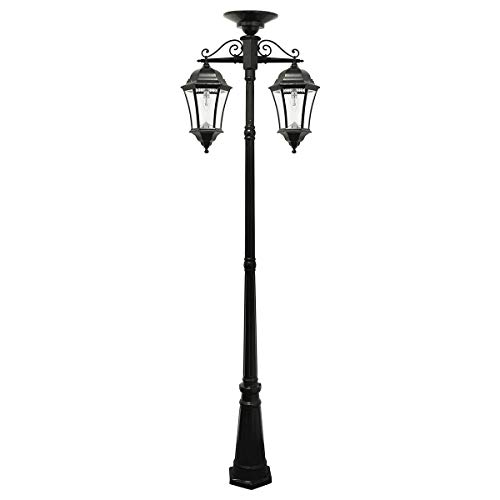 GAMA SONIC Victorian Bulb Solar Lamp Post, GS Solar Light Bulb, Double Down Lights, Black GS-94BC-D