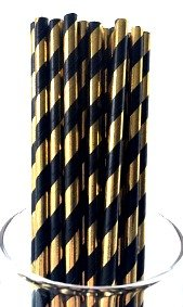 High Class Paper Straws for Parties, Weddings, Baby Showers & More: Vintage Foil Shiny Black and Gold Straws - Disposable & Eco- Friendly, 100% Biodegradable -Pack of 50, Unique & Elegant Designs