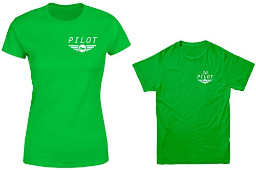 Pilot/Co-Pilot 2-Pack Youth & Ladies T-Shirt (Kelly/Kelly, Ladies XX-Large/Youth X-Large)