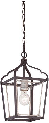 Minka Lavery 4341-593 1-Light Mini Pendant, Dark Rubbed Sienna with Aged Silver Finish