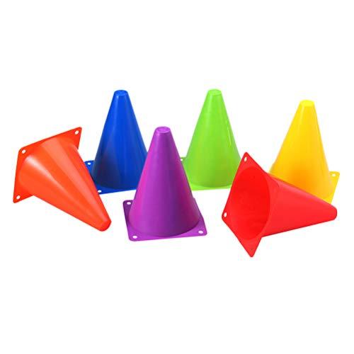 Vosarea Plastic Cones - Indoor/Outdoor Flexible Sports Training, Agility, Party, Activity, Traffic Cones 12pcs 18cm ()