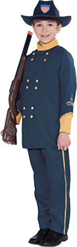 Kids Union Officer Hat (Union Officer Child Costume Kids Boys Soldier Battle Play Theme Halloween Party, Large(12-14))