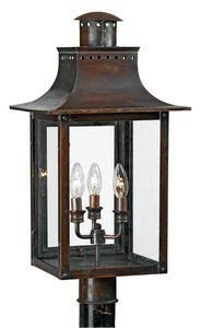 - Quoizel CM9012AC Chalmers Outdoor Copper Lantern Post Mount, 3-Light, 180 Watts, Aged Copper (26