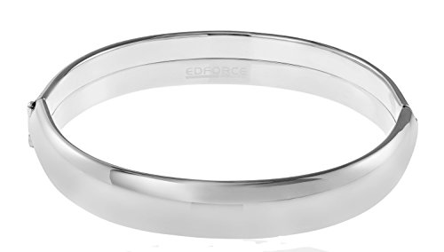 - Edforce Stainless Steel Women's Stackable Bangle Bracelet Wide Round Oval Hinged Slip-On (Silver)