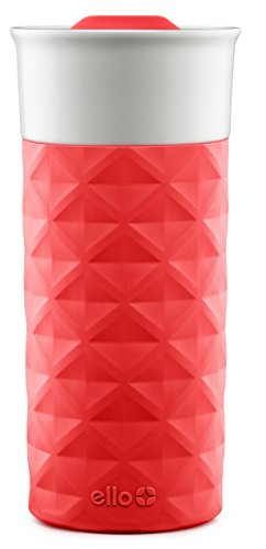 Ello Ogden BPA-Free Ceramic Travel Mug with Lid, Coral, 16 oz (Dishwasher Safe Ceramic)