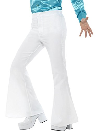 70s Disco Fever (Men's 70s Groovy Disco Fever Flared White Pants Costume X-Large 46-48)