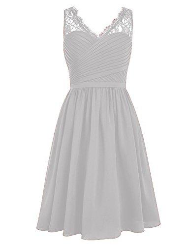 Silber Ausschnitt Linie Abendkleider Kleider Ballkleider Brautjungfernkleider Hochzeit Chiffon V Kurz Spitze HUINI Cocktailkleider A AOqY8n