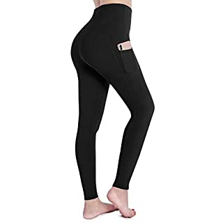 OUGES Womens High Waist Pockets Yoga Pants Running Pants Workout Leggings(Black,S)