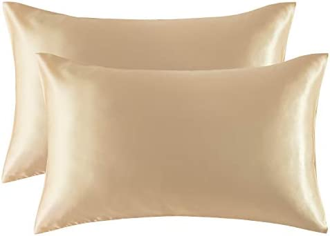 Bedsure Satin Pillowcase for Hair and Skin, 2-Pack - Queen Size (20x30 inches) Pillow Cases - Satin Pillow Covers with Envelope Closure, Champagne (Gold)