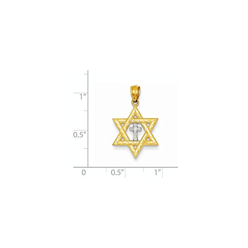 14K Yellow Gold Diamond with Rhodium Plated Star of David with Cross Charm (0.8IN long x 0.6IN - Diamond Rhodium Star