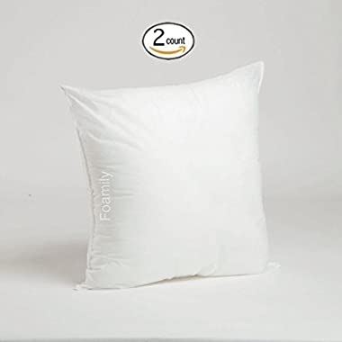 Set of 2 - 20 x 20 Premium Hypoallergenic Stuffer Pillow Insert Sham Square Form Polyester, Standard / White - MADE IN USA