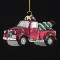 (Noble Gems Kurt Adler 4-Inch Glass Truck with Christmas Tree Ornament)