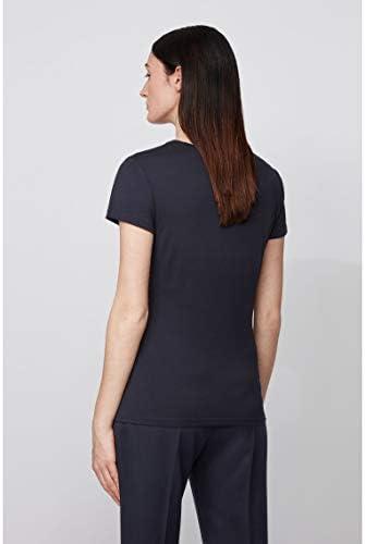 BOSS damska koszulka Tigreaty z mieszanki bawełny z modalem i dekoltem w kształcie litery U: Odzież