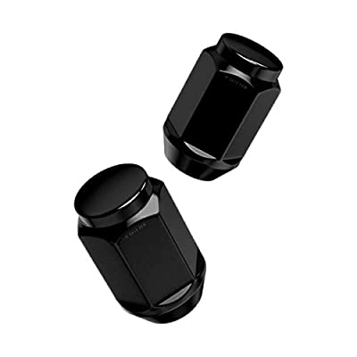 4pcs Black Bulge Lug Nuts (Metric 12x1.5, 1.4 inch Length) Conical Cone Taper Acorn Seat Closed End (Installs with 19mm or 3/4 inch Socket) Compatible with many Chevy Buick Chrysler Dodge GMC Pontiac: Automotive