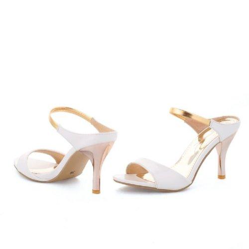 Charm Foot Fashin Womens High Heel Open Toe Sandals Slippers White UNgUFHtbSZ