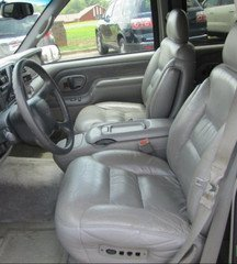 Fabulous Chevy Suburban Tahoe And Gmc Yukon Captain Chairs Seat Covers In Silver Leatherette With Electric Drivers Side And Electric Lumber Control On Alphanode Cool Chair Designs And Ideas Alphanodeonline