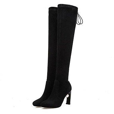 Botas de la mujer confort confort informal de primavera de gamuza gris plana negra Black