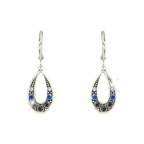 Silver-Plated Austrian Crystal Teardrop Victorian Style Leverback Dangle Earrings (Blue)