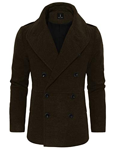 TAM WARE Mens Wool Blend Double Breasted Pea Coat TWCC10-C16-BROWN-US S
