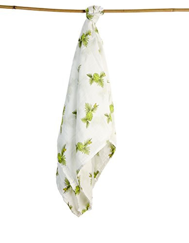 Baby Swaddling Blankets 100% Organic SILKY SOFT Muslin Cotton Bamboo For Boys & Girls - Exclusive Prints - Unique Gift Box - Unisex Adam & Elsa 1 Pack - Oversized (Rainforest Frog Green Yellow)