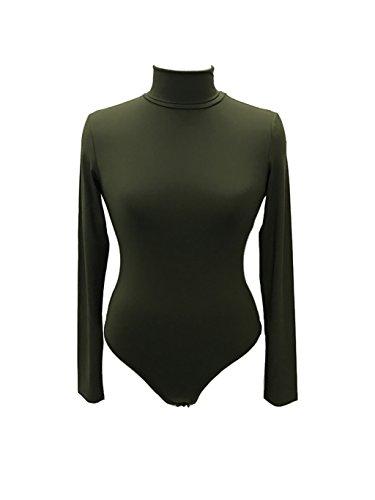 49fb7ba964 Sumtory Women High Neck Top Bodysuit Long Sleeve Bodycon Romper Solid Thong  Leotard