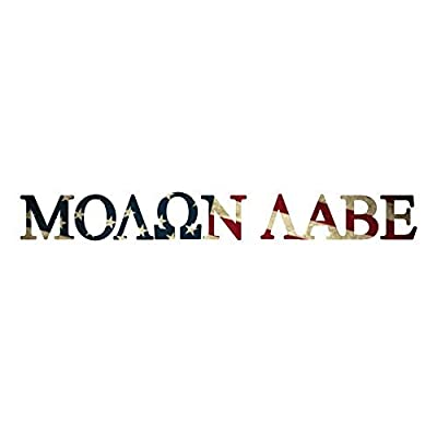NI421 Molon Labe with American Flag in Letters Decal | 10.75-Inches Wide | Premium Quality Outdoor Vinyl Decal: Automotive