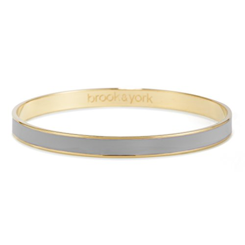 Brook & York Gold Plated Bangle Bracelet with Personalized Color Enamel (1/4 inch Wide; 7 3/4 inch Long)