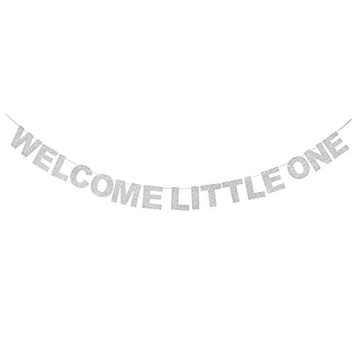 Silver Baby Shower Decorations (Welcome Little One Silver Glitter Theme Bunting Banner For Celebrate Baby Shower Baby birthday Party Creative)