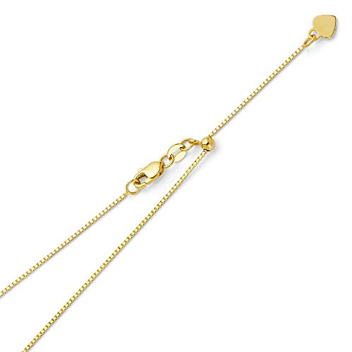 14k REAL Yellow Gold Solid 0.8mm Box Length Adjustable Chain Necklace with Lobster Claw Clasp - 20""